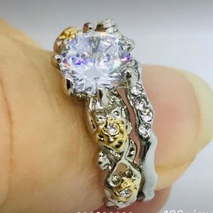 Jewelry - Size 6- 2-Toned S925 & YGP White Sapphire 2PC Set